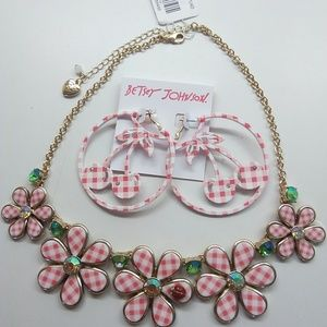 Betsey Johnson New Pink Gingham Necklace & Earring